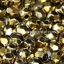 50 BOHEMIAN GLASS FIRE POLISHED FACETED ROUND BEADS CRYSTAL AMBER 00030/26441 - GOLD