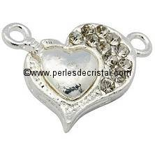 Magnetic clasp, heart, strass, colours SILVER - 17X22mm