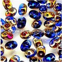 10GR SUPERDUO 2.5X5MM GLASS COLOURS SAPPHIRE SLIPERIT 30060/29500