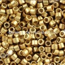 5gr PERLES ROCAILLES MIYUKI DELICA 11/0 - 2MM GALVANIZED SEMI MAT MEAD DB1153 - LIGHT GOLD MAT