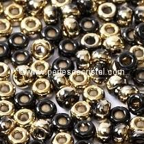 10gr PERLES ROCAILLES MIYUKI 11/0 - 2MM COLORIS BLACK AMBER 55032 - JET AMBER - NOIR DORE OR