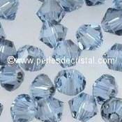 50 BICONES 4MM CRISTAL SWAROVSKI COLOURS LIGHT SAPPHIRE SATIN #5301