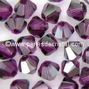 50 BICONES 4MM CRISTAL SWAROVSKI COLOURS AMETHYST SATIN #5301