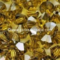 50 BICONES 4MM CRISTAL SWAROVSKI COLOURS LIME SATIN #5301