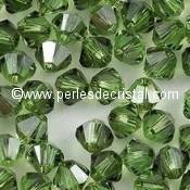 50 BICONES 4MM CRISTAL SWAROVSKI COLOURS PERIDOT SATIN #5301
