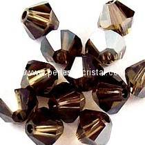 50 BICONES 4MM CRISTAL SWAROVSKI COLOURS SMOKY QUARTZ SATIN #5301