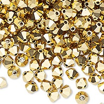 20 BICONES 4MM CRISTAL SWAROVSKI COLOURS CRYSTAL AURUM AB2X #5328