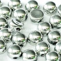 20 GLASS BEADS CABOCHON 2-HOLE 6MM COLOURS CRYSTAL LABRADOR FULL - SILVER - 00030/27000