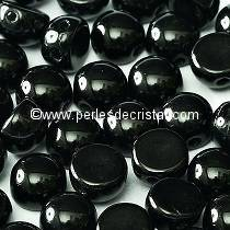 20 GLASS BEADS CABOCHON 2-HOLE 6MM COLOURS JET - BLACK 23980