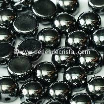 20 GLASS BEADS CABOCHON 2-HOLE 6MM COLOURS JET HEMATITE 23980/14400