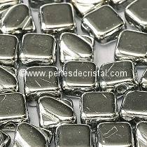 50 SILKY BEADS 6X6MM LOSANGE COLORIS CRYSTAL LABRADOR FULL - ARGENT - 00030/27000
