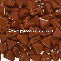 10GR KHEOPS® BY PUCA BEADS 6MM - TRIANGLE GLASS COLOURS OPAQUE CHOCOLATE - BROWN 13600