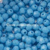 50 BOHEMIAN GLASS FIRE POLISHED FACETED ROUND BEADS 4MM COLOURS OPAQUE BLUE TURQUOISE 63030