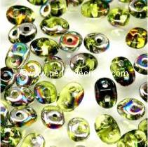 10GR SUPERDUO 2.5X5MM GLASS COLOURS OLIVINE VITRAIL 50230/28101