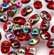 10GR SUPERDUO 2.5X5MM GLASS COLOURS RUBY VITRAIL 