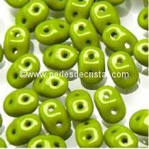 10GR SUPERDUO 2.5X5MM GLASS COLOURS OPAQUE OLIVINE 53410