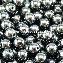 50 PERLES RONDES LISSES 4MM JET HEMATITE 23980/14400 - NOIR ARGENTE