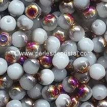 50 PERLES RONDES LISSES 4MM OPAQUE WHITE SLIPERIT 02010/29500