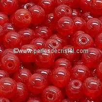 50 PERLES RONDES LISSES 4MM OPAL RED RUBY 91250 - ROUGE