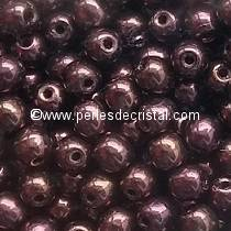 50 SMOOTH ROUND BEADS 4MM JET PURPLE GOLD LUSTER 23980/14496