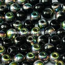 50 SMOOTH ROUND BEADS 4MM JET VITRAIL 23980/28101 - BLACK