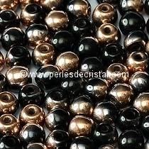 50 PERLES RONDES LISSES 4MM JET CAPRI GOLD 23980/27101 - NOIR DORE