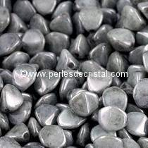 50 PINCH 5X3MM EN VERRE COLORIS OPAQUE GREY CERAMIC LOOK 03000/14449