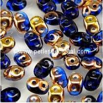 10GR SUPERDUO 2.5X5MM EN VERRE COLORIS SAPPHIRE CAPRI GOLD 30060/27101