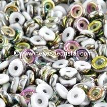 5GR WHEEL BEAD 6MM GLASS COLOURS OPAQUE WHITE VITRAIL 03000/28101