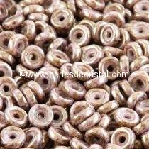 5GR PERLES WHEEL 6MM EN VERRE COLORIS OPAQUE ROSE/GOLD CERAMIC LOOK 03000/15695