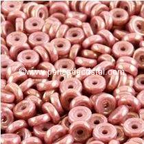 5GR PERLES WHEEL 6MM EN VERRE COLORIS OPAQUE ROSE CERAMIC LOOK 03000/14495