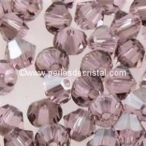 50 BICONES 4MM CRISTAL SWAROVSKI COLOURS LIGHT AMETHYST SATIN #5301