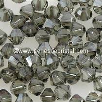50 TOUPIES 4MM CRISTAL SWAROVSKI COLORIS BLACK DIAMOND SATIN #5301