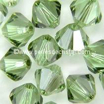 50 BICONES 4MM CRISTAL SWAROVSKI COLOURS CHRYSOLITE SATIN #5301