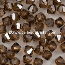 50 TOUPIES 4MM CRISTAL SWAROVSKI COLORIS LIGHT SMOKED TOPAZ SATIN #5301