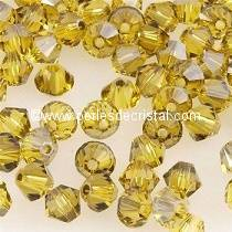 50 BICONES 4MM CRISTAL SWAROVSKI COLOURS LIGHT TOPAZ SATIN #5301
