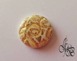 Flat puck / cabochon (hand) of MISS BRISTLING, polymer clay retsina, about 18MM #3