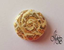 Flat puck / cabochon (hand) of MISS BRISTLING, polymer clay retsina, about 18MM #4