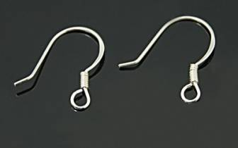 925 Sterling Silver Earwires with ball 14mm x2