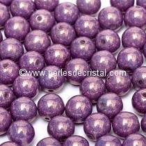 50 SMOOTH ROUND BEADS 4MM OPAQUE AMETHYST / GOLD CERAMIC LOOK 03000/15726