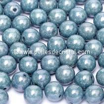 50 PERLES RONDES LISSES 4MM OPAQUE BLUE CERAMIC LOOK 03000/14464