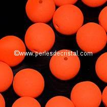 25 PERLES RONDES LISSES 6MM ORANGE NEON MAT 02010/25122 NEON BRIGHT ORANGE