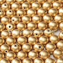 50 SMOOTH ROUND BEADS 3MM LIGHT GOLD MAT 01710 - AZTEC GOLD MAT
