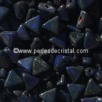 10GR KHEOPS® BY PUCA® BEADS 6MM - TRIANGLE GLASS COLOURS OPAQUE SAPPHIRE TRAVERTIN DARK 33050/86805