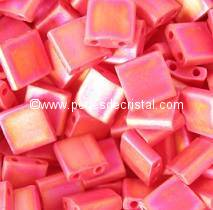5GR TILAS MIYUKI 5X5MM GLASS BEADS COLOURS OPAQUE RED AB MATTED TL-0408FR