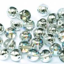 50 PERLES RONDES LISSES 4MM CRYSTAL SILVER RAINBOW 00030/98530