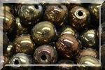 50 SMOOTH ROUND BEADS 4MM METALLIC BROWN IRIS 23980/21415