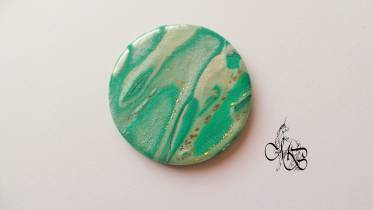Flat puck / cabochon (hand) of MISS BRISTLING, polymer clay retsina, about 40MM - #26