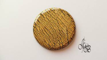 Flat puck / cabochon (hand) of MISS BRISTLING, polymer clay retsina, about 40MM - #4
