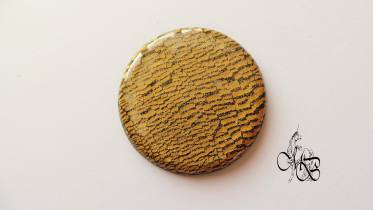 Flat puck / cabochon (hand) of MISS BRISTLING, polymer clay retsina, about 40MM - #5